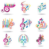 Colorful music notes. Set of music design elements or icons. — Stockvektor