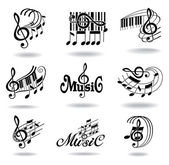 Music notes. Set of music design elements or icons. — Stockvektor
