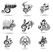 Music notes. Set of music design elements or icons. — Vettoriale Stock