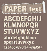 Paper vector font. Letters, numbers and orthographic symbols. — Stockvektor