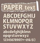 Papper vektor teckensnitt. bokstäver, siffror och ortografiska symboler. — Stockvektor