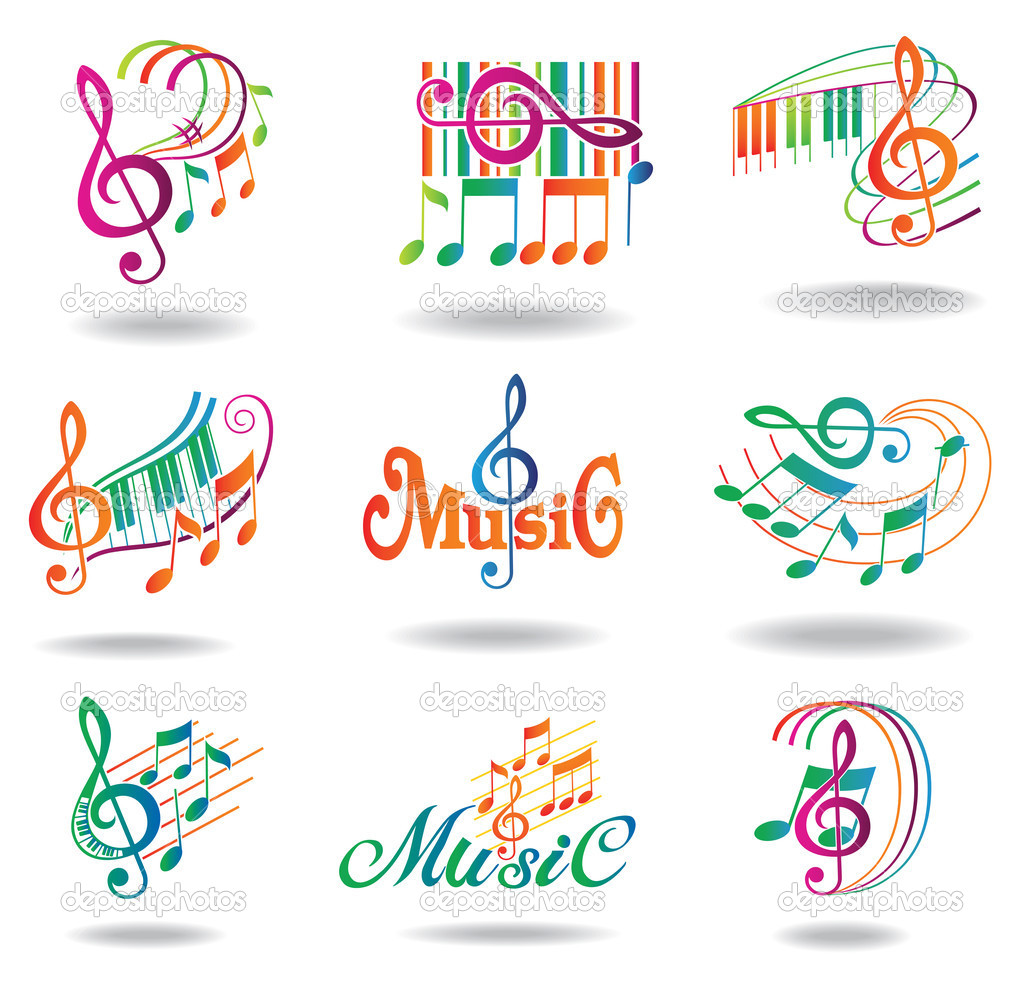 Colorful music notes set of music design elements or for Note musicali dwg