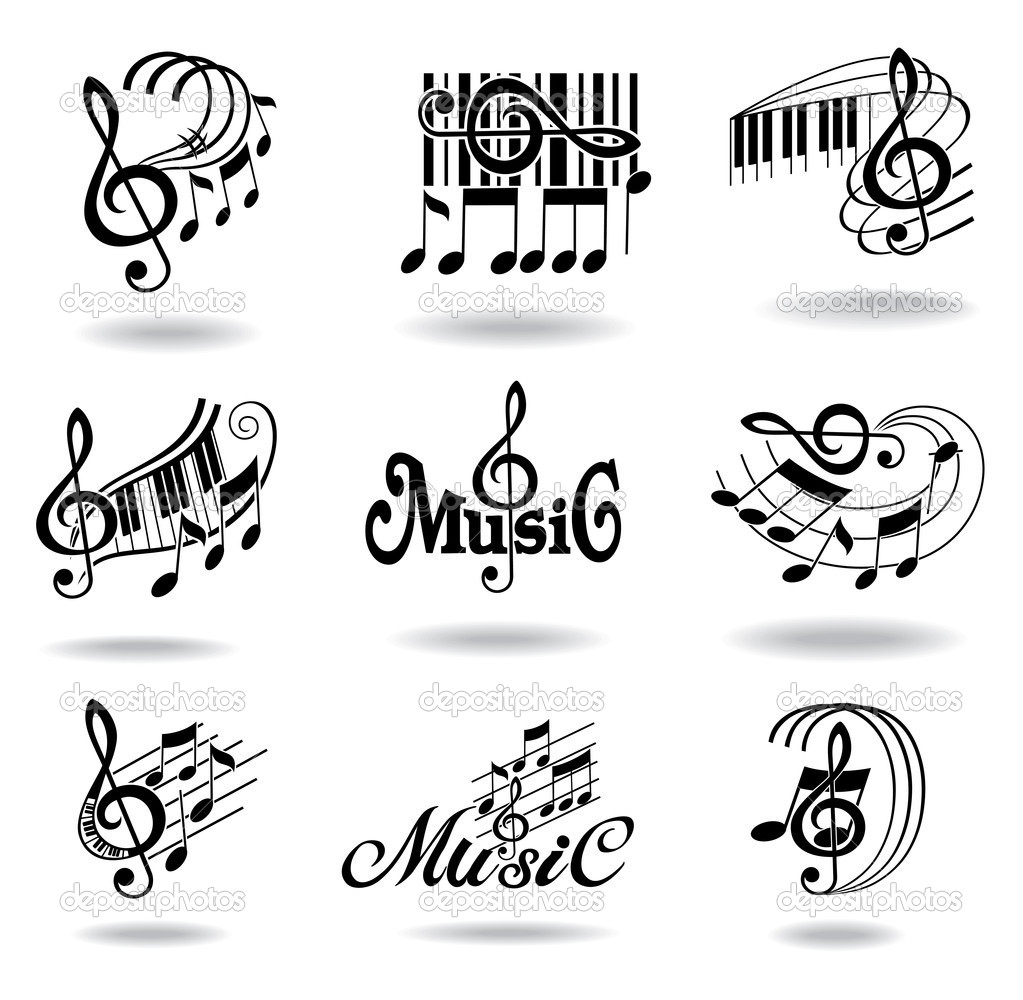 Music notes. Set of music design elements or icons.   Stock Vector #11037122