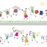 Back to school. Joyful children run in the school. — Stock Vector