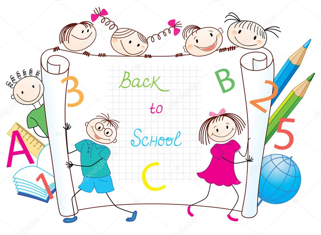 Back to School. Group of funny children.  — Stock Vector #11639744