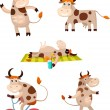 Stock Vector: Cow set