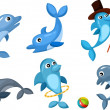 Dolphin set — Stock Vector