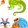 Dragon set — Stock Vector
