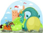 Dragon and knight — Stock Vector