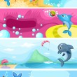 Sea life background — Imagen vectorial