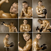 Muscled male model bodybuilder — Stock Photo