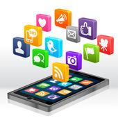 Aplikacje społecznościowe — Zdjęcie stockowe