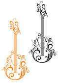Guitar with floral embellishments — Stock Vector