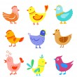 Fun doodle birds and cocks — Stock Vector #10932709