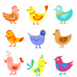 Fun doodle birds and cocks — Stock Vector