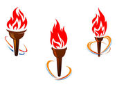 Three torches with fire flames — Stock Vector
