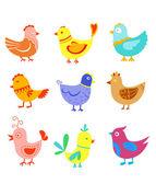 Divertido doodle aves y gallos — Vector de stock