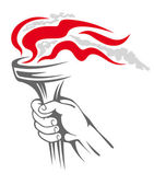 Flaming torch in hand — Stock Vector
