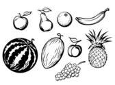 Conjunto de frutas frescas isoladas — Vetorial Stock