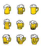 Set of beer glasses with fresh foam — Stock Vector