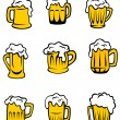 Set of beer glasses — Stock Vector