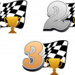 Royalty-Free Stock Vector Image: Chequered racing flag with trophy