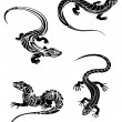 Fast lizards in tribal style - Stock Vector