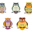 Stock Vector: color cartoon owls