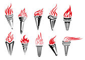 Burning torches set — Stock Vector