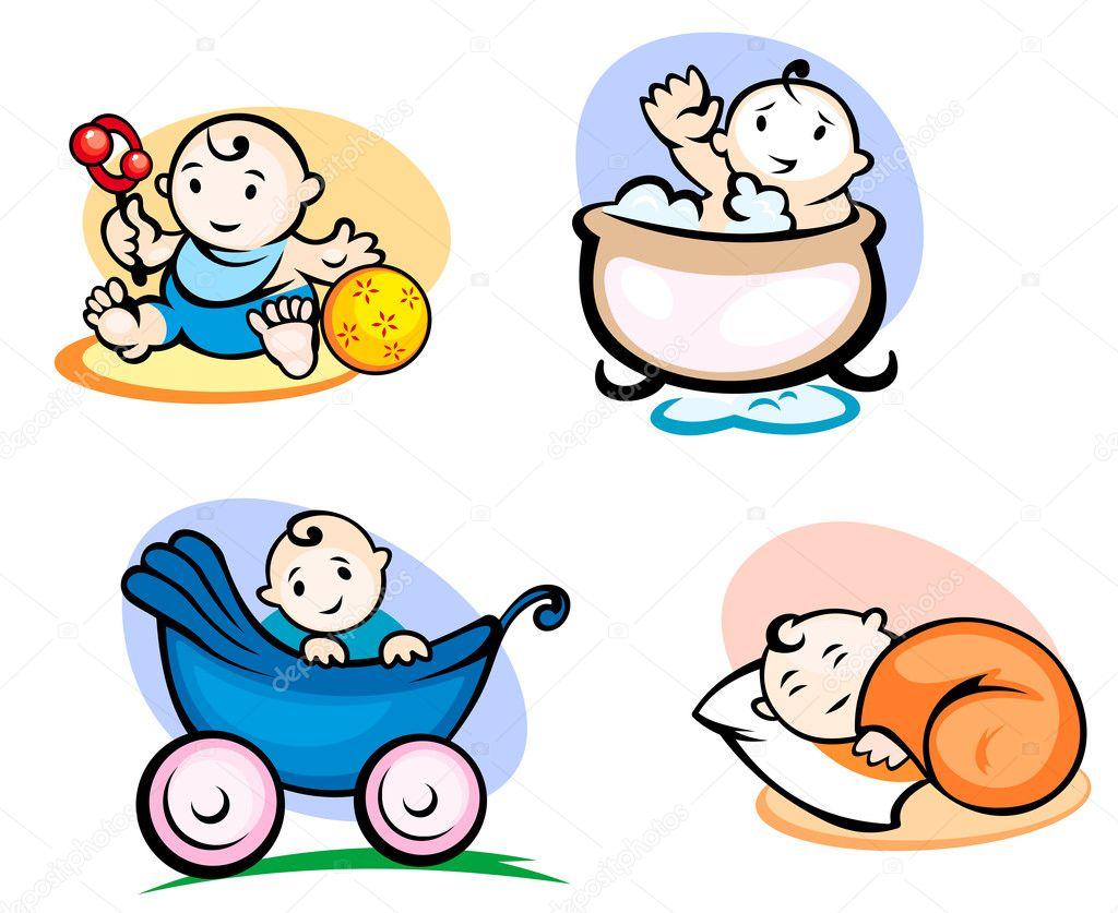 Niños pequeños en estilo de dibujos animados — Vector de ...