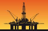 Oil derrick in sea — Stock Vector