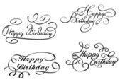Happy birthday calligraphic embellishments — Stock Vector