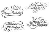 Happy birthday calligraphic embellishments — Stock Vector