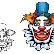 Smiling circus clown in hat - Stock Vector