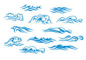 Ocean and sea waves — Vector de stock