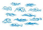 Olas del océano y el mar — Vector de stock