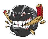 Hockey puck break hockey stick — Stock Vector