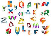 Uppsättning alfabetet symboler från en till z — Stockvektor