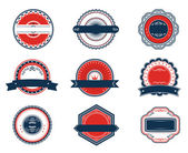 Retro blue and red labels set — Stock Vector