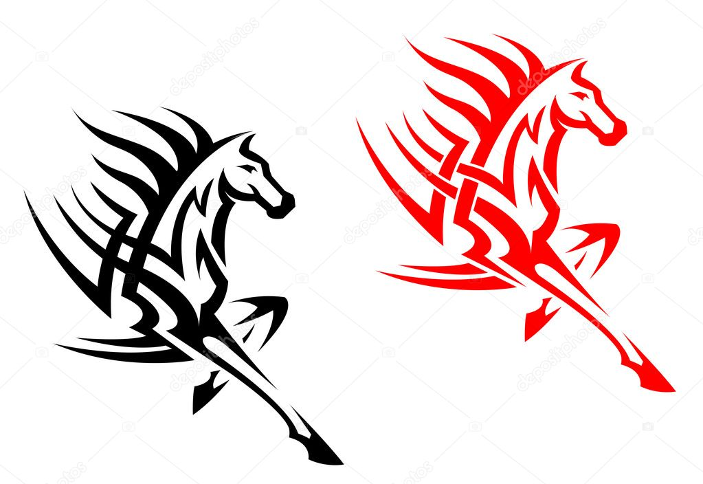 Tribal Mustang Tattoo Tribal Mustang Stallion For Mascot or Tattoo Design Vector by Seamartini