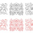 Retro flowers set — Stockvectorbeeld