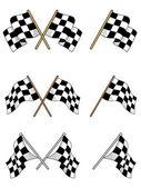 Conjunto de bandeiras quadriculadas de corrida — Vetor de Stock