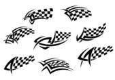 Bandeiras quadriculadas em estilo tribal — Vetorial Stock