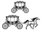 Horse with old carriage — Stock Vector