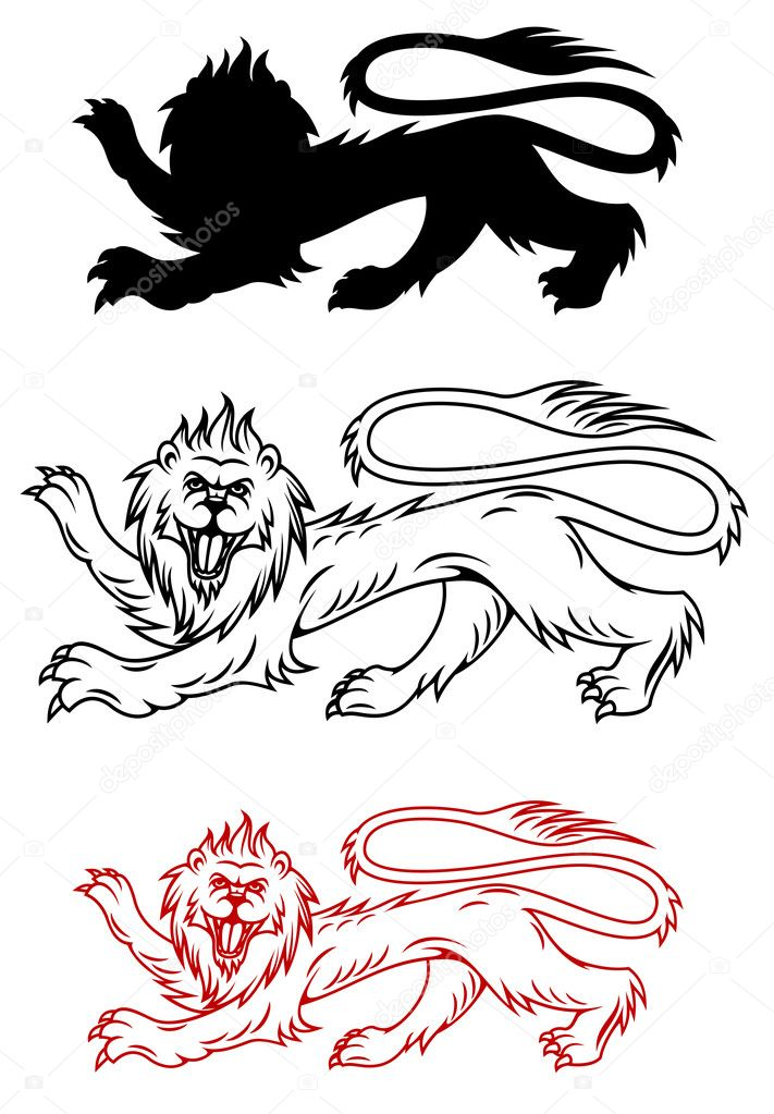 Royal lion and his silhouette for heraldry design — Stock Vector #12408745