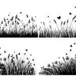 sylwetki łąka — Wektor stockowy  #10772737