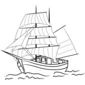 Sketch of nautical sailing vessel — Stock Vector