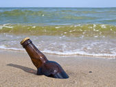 The bottle of beer is buried in sand — Stock Photo