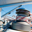 Stock Photo: Winch with rope on sailing boat