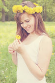 Girl with bee — Stock Photo